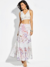 High-Waist Ankle-Length Floral Print Vacation Women's Skirt
