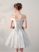 A-Line Bowknot Lace Off-the-Shoulder Appliques Sashes Mini Homecoming Dress