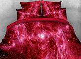 Outer Space and Galaxy Printed 4-Piece 3D Red Bedding Sets/Duvet Covers