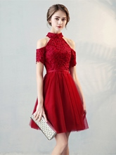 A-Line High Neck Appliques Pearls Sashes Knee-Length Homecoming Dress