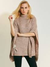 Turtleneck Solid Color Asymmetric Women's Sweater
