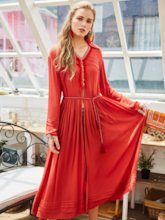 Orange Red Split Women's Maxi Dress