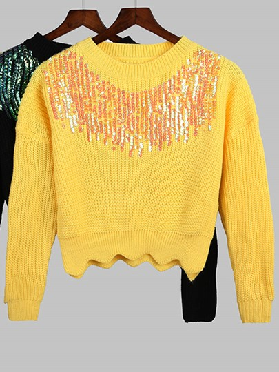Short Wave Long-sleeved Heavy Sequins Women's Sweater