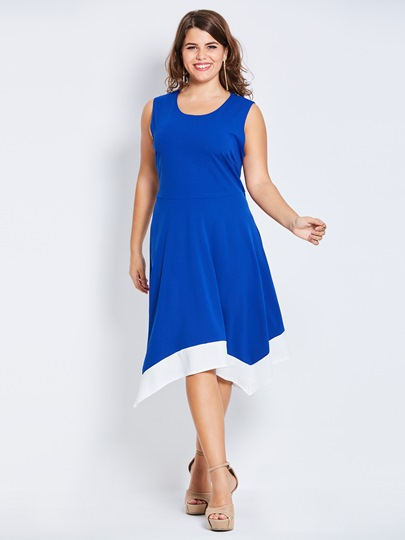 Plus Size Asym Blue Women's Day Dress