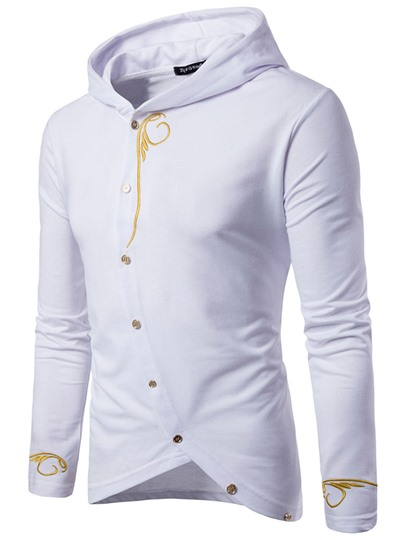 Inclined Closure Embroidery Slim Men's Hoodie
