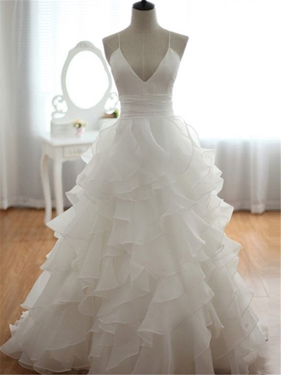 V-Neck Spaghetti Straps Tiered Wedding Dress
