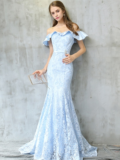 Off-the-Shoulder Mermaid Lace Rhinestone Lace Sashes Evening Dress