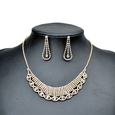 Full Drill Gold Hollow Out Pear Alloy Jewelry Sets