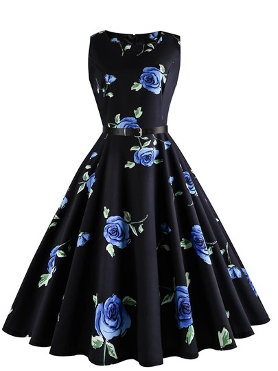 Black Rose Pattern Women's Day Dress