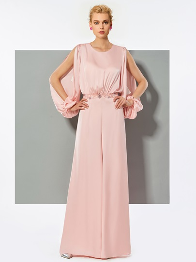 Jewel A-Line Beading Button Evening Jumpsuits