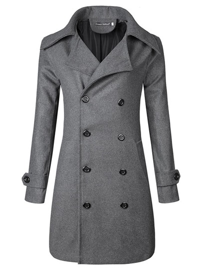 Midi Pattern Notched Collar Double-Breasted Leisure Men's Trench Coat
