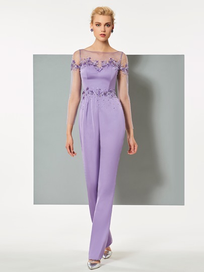 Bateau Sheath Beaded Evening Jumpsuits
