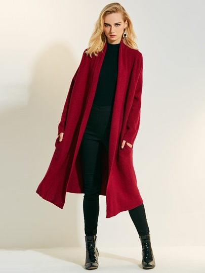 Loose Lapel Cashmere Long Women's Cardigan