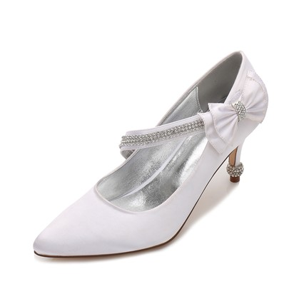 Point Toe Stiletto Heel Velcro Bridal Shoes For Wedding