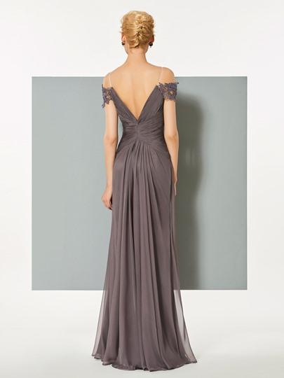 A-Line Off-the-Shoulder Short Sleeves Lace Ruched Evening Dress