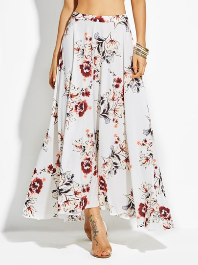 Flower Print Ankle-Length Chiffon Vacation Women's Skirt