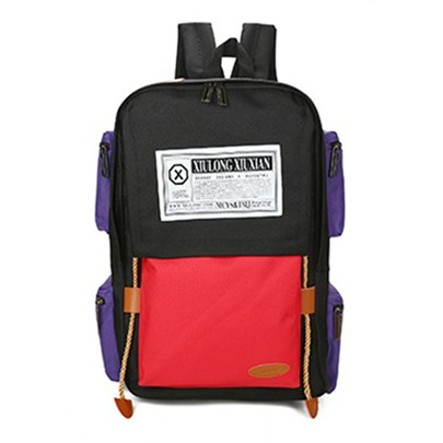 Korean Style Color Block Women School Backpack