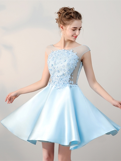 Scoop Flowers Lace Pearls Mini Homecoming Dress