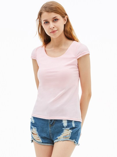 Simple Slim Back Hollow Out Women's T-Shirt