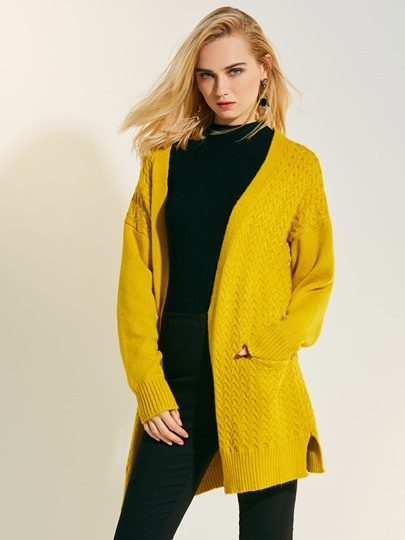 Loose Plain Mid-Length Cardigan Women's Knitwear