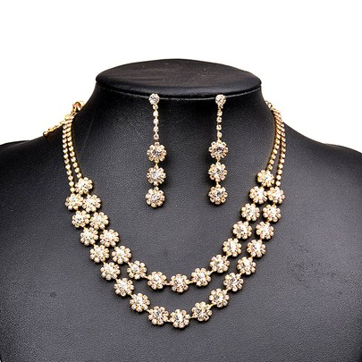 Gold Flower Stone Diamante Double Necklace Jewelry Sets