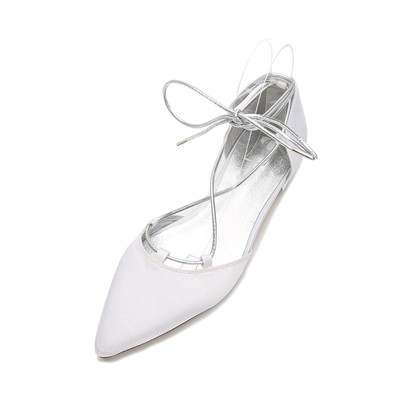 Block Heel Lace-Up Plain Bridal Shoes For Weeding