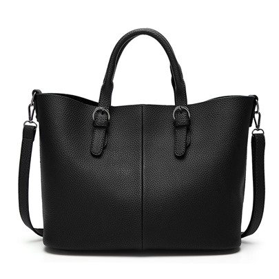 Solid Color Litchi Stria Women Handbag