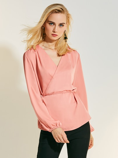 Plain Lace-Up Loose Chiffon V-Neck Women's Blouse
