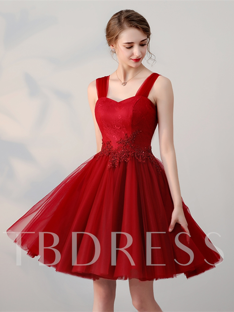 Image of A-Line Appliques Beading Lace Straps Short Homecoming Dress