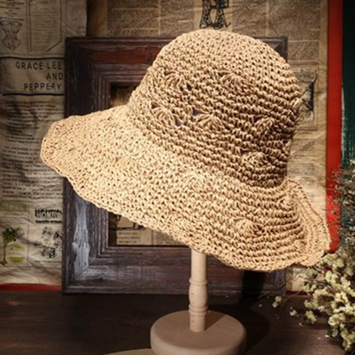 Wide Brim Hollow Out Fan Straw Korean Hats
