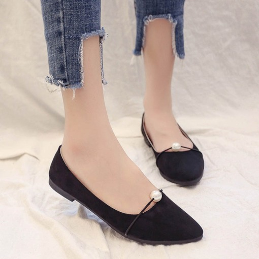 Chaussures douces, blocs talon, perles, slip-on, femmes, appartements