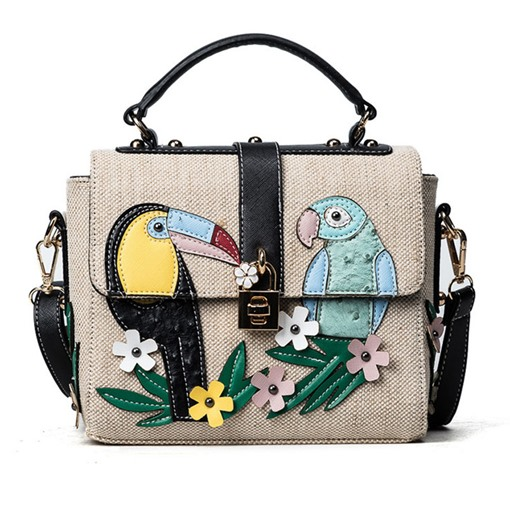 Chic Flower-And-Bird Printing Canvas Cross Body
