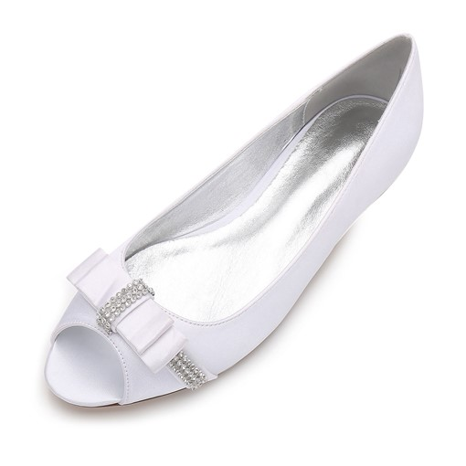 Bow Rhinestone Block Heel Slip-On Women's Bridals Shoes For Wedding