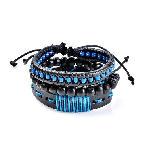 Blue Beads Artificial Leather Rope Bohemian Bracelet