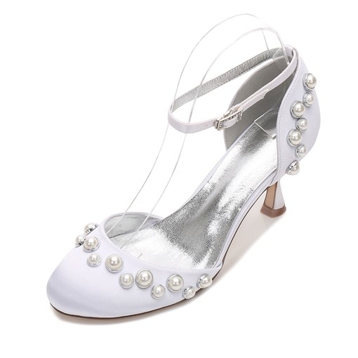 Beads Round Toe Stiletto Heel Line-Style Buckle Bridal Shoes For Wedding