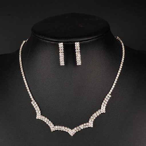 Box Chain Diamante Geometric Simple Jewelry Sets