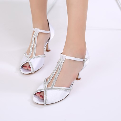 Heel Covering Rhinestone Peep Toe Silk Fabric Dress Shoes