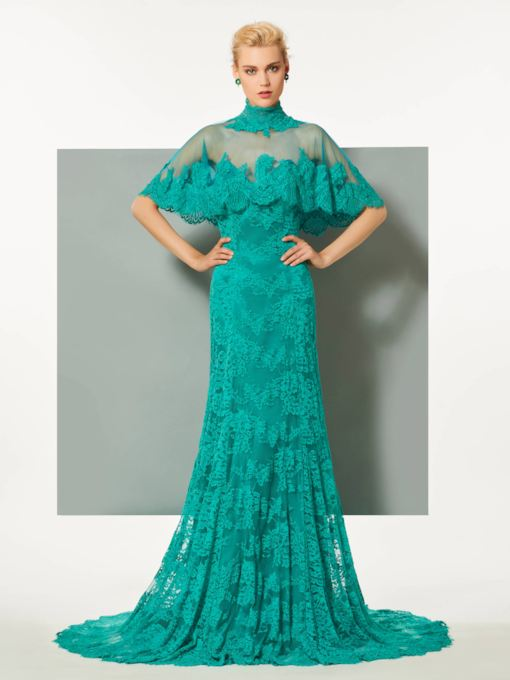 High Neck Lace Evening Dress with Cape