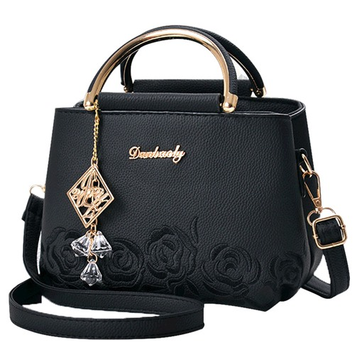 Exquisite Pendant Embossing Zipper Handbag