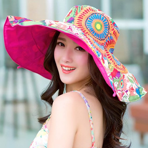 Cotton Tie-Dye Geometric Flower Convertible Sun Hats