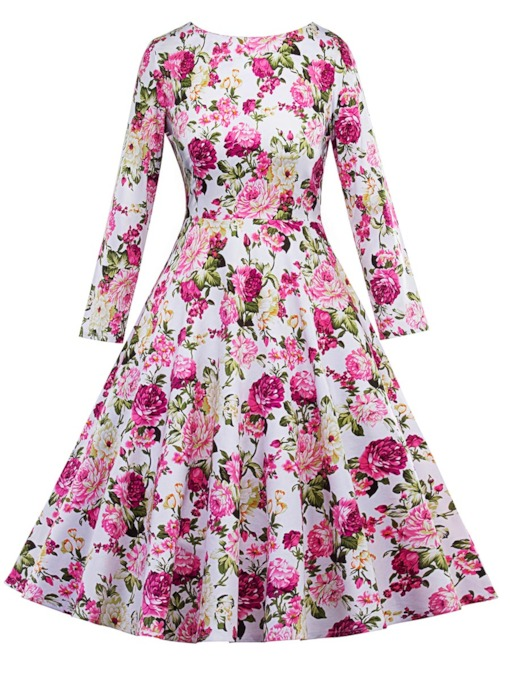 Floral Long Sleeve Women's Day Dress