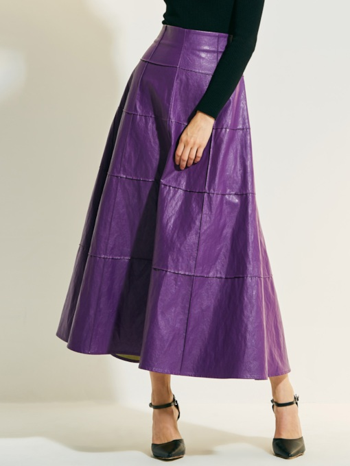 Plain High-Waist Pleated Zipper Patchwork Women's Skirt
