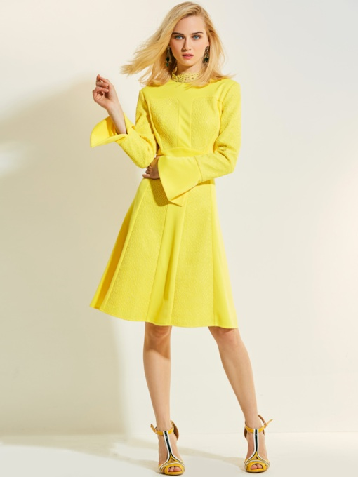 Long Sleeve Yellow Patchwork Women's Day Dress