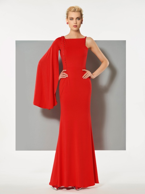 Sheath Bateau Beaded Long Sleeves Floor-Length Evening Dress