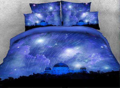 Castle and Meteor Shower Printed Cotton 3D 4-Piece Bedding Sets/Duvet Covers
