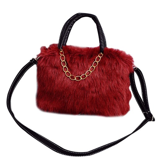Korean Style Solid Color Plush Cross Body