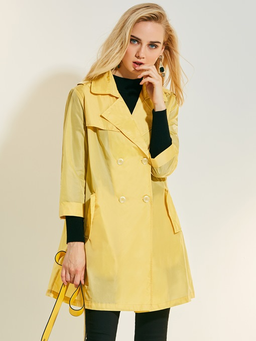 Thin Lapel Double-Breasted Women's Trench Coat