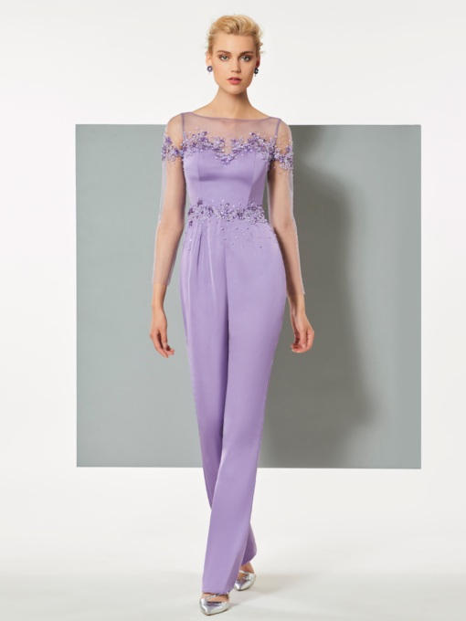 Sheer Bateau Neck Sequins Sheath Evening Jumpsuits