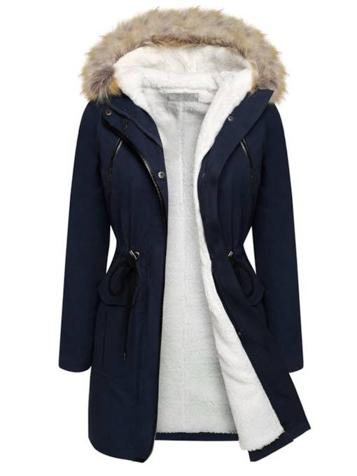 Flocking Hooded Hidden Button Women's Overcoat