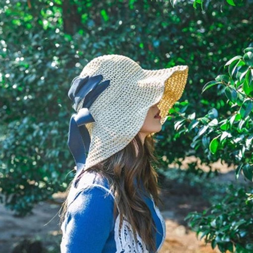 Straw Plaited Article Bowknot Korean Sun Hats